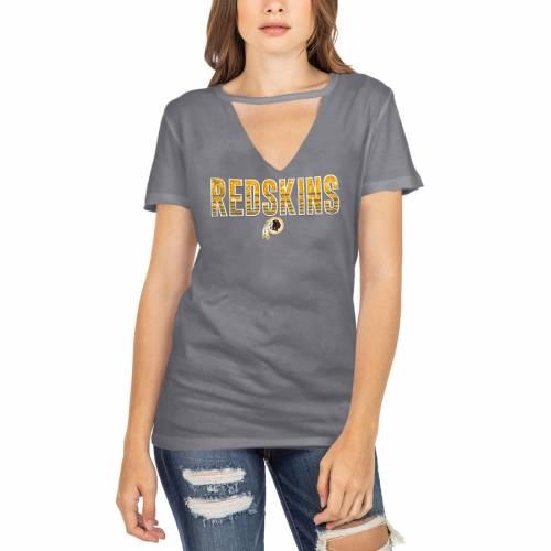 ニューエラ NEW ERA ワシントン レッドスキンズ レディース ブイネック Tシャツ 灰色 グレー グレイ レディースファッション トップス カットソー 【 Washington Redskins Womens Gradient Glitter Choke
