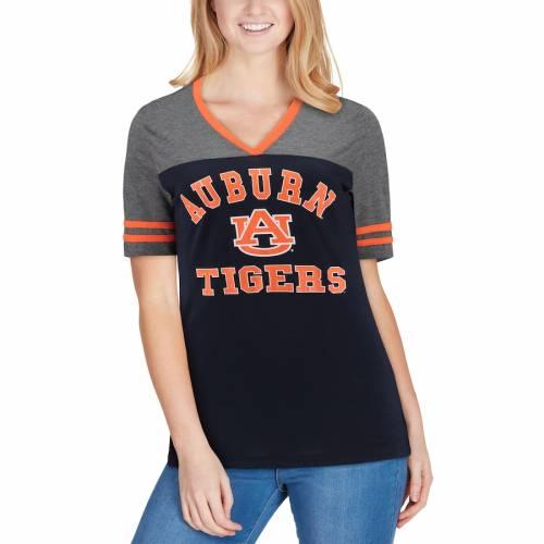 COLOSSEUM タイガース レディース ジャージ ブイネック Tシャツ 紺 ネイビー レディースファッション トップス カットソー 【 Auburn Tigers Womens The Whole Package Jersey V-neck T-shirt - Navy 】 Navy