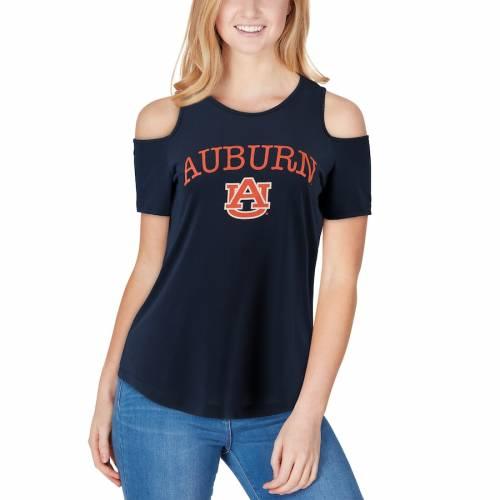 BOXERCRAFT タイガース レディース ジャージ Tシャツ 紺 ネイビー レディースファッション トップス カットソー 【 Auburn Tigers Womens Sueded Jersey Cold Shoulder T-shirt - Navy 】 Navy