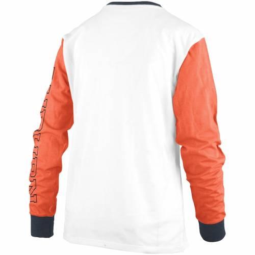PRESSBOX タイガース レディース スリーブ Tシャツ 白 ホワイト レディースファッション トップス カットソー 【 Auburn Tigers Womens Schroeder Ringer Two-hit Long Sleeve T-shirt - White 】 White