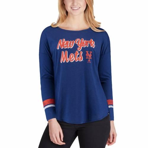 '47 メッツ レディース クラブ ストライプ スリーブ Tシャツ レディースファッション トップス カットソー 【 New York Mets Womens Club Courtside Stripe Long Sleeve T-shirt - Royal 】 Royal