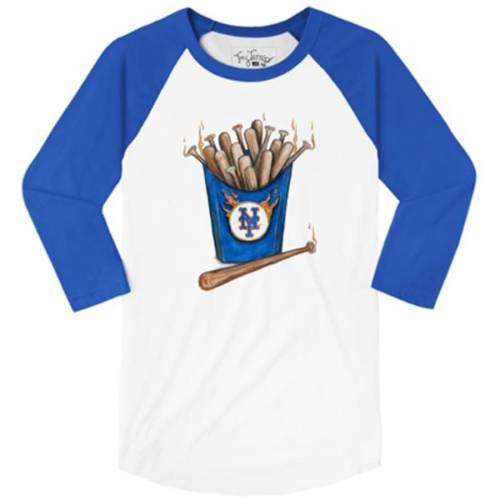 TINY TURNIP メッツ レディース スリーブ ラグラン Tシャツ レディースファッション トップス カットソー 【 New York Mets Womens Hot Bats 3/4 Sleeve Raglan T-shirt - White/royal 】 White/royal