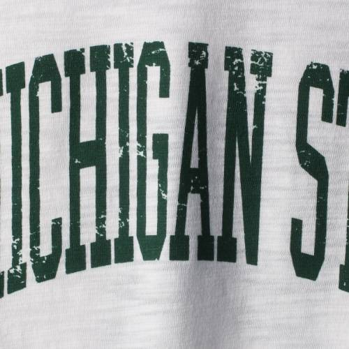 BOXERCRAFT ミシガン スケートボード レディース ロゴ スリーブ Tシャツ レディースファッション トップス カットソー 【 Michigan State Spartans Womens Preppy Elbow Patch 2-hit Arch And Logo Long Sleeve T-shirt