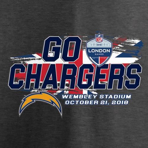 NFL PRO LINE BY FANATICS BRANDED チャージャーズ レディース ブイネック Tシャツ チャコール レディースファッション トップス カットソー 【 Los Angeles Chargers Fanatics Branded Womens 2018 London Games V-nec