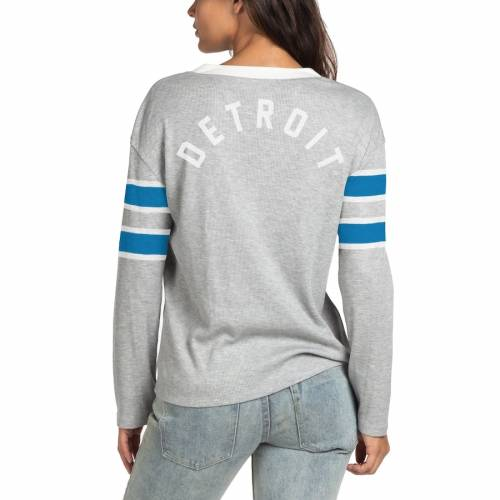 JUNK FOOD デトロイト ライオンズ レディース スリーブ Tシャツ 灰色 グレー グレイ レディースファッション トップス カットソー 【 Detroit Lions Womens Thermal Tri-blend Lace-up Long Sleeve T-shirt - Gra
