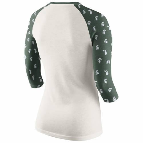 ナイキ NIKE ミシガン スケートボード レディース ラグラン Tシャツ レディースファッション トップス カットソー 【 Michigan State Spartans Womens Veer Pattern Tri-blend 3/4-sleeve Raglan T-shirt - Cream/gree