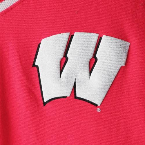 SPIRIT JERSEY ウィスコンシン レディース ブイネック Tシャツ 赤 レッド レディースファッション トップス カットソー 【 Wisconsin Badgers Womens Contrast V-neck T-shirt - Red 】 Red
