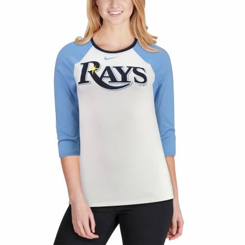 ナイキ NIKE レイズ レディース ラグラン Tシャツ 青 ブルー レディースファッション トップス カットソー 【 Tampa Bay Rays Womens Tri-blend Raglan 3/4-sleeve T-shirt - White/light Blue 】 White/light Blue