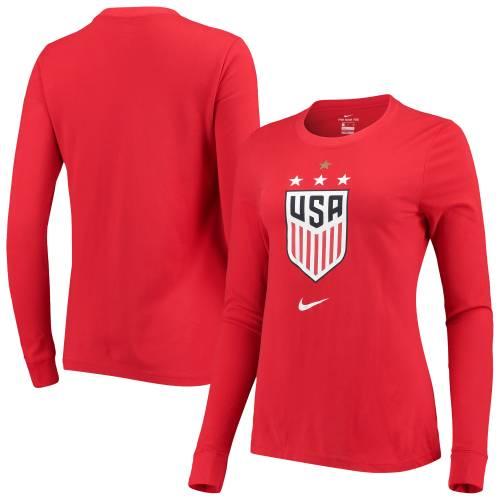 ナイキ NIKE レディース パフォーマンス スリーブ Tシャツ 紺 ネイビー レディースファッション トップス カットソー 【 Uswnt Womens Performance Long Sleeve T-shirt - Navy 】 Red