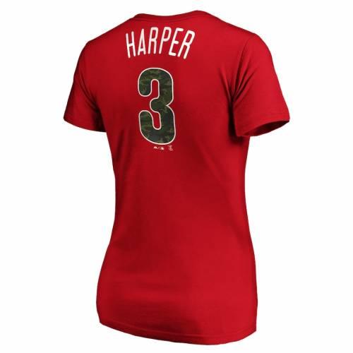 マジェスティック MAJESTIC フィラデルフィア フィリーズ レディース Tシャツ 赤 レッド レディースファッション トップス カットソー 【 Bryce Harper Philadelphia Phillies Womens Camo Name And Number T-