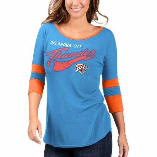 G-III 4HER BY CARL BANKS シティ サンダー レディース ゲーム ジャージ Tシャツ レディースファッション トップス カットソー 【 Oklahoma City Thunder Womens Game Changer Viscose Jersey 3/4-sleeve T-shirt - Royal