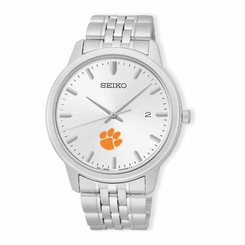 SEIKO タイガース ステンレス 銀色 スチール ウォッチ 時計 シルバー 【 WATCH SILVER SEIKO CLEMSON TIGERS ANALOG QUARTZ STAINLESS STEEL 】 腕時計 メンズ腕時計