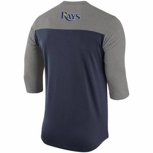 ナイキ NIKE レイズ ヘンリー パフォーマンス Tシャツ 紺 ネイビー メンズファッション トップス カットソー メンズ 【 Tampa Bay Rays Dry Henley 3/4-sleeve Performance T-shirt - Navy 】 Navy