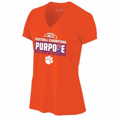 THE VICTORY タイガース レディース ブイネック Tシャツ 橙 オレンジ レディースファッション トップス カットソー 【 Clemson Tigers Womens 2019 Acc Football Champions Locker Room V-neck T-shirt - Orange 】 Oran
