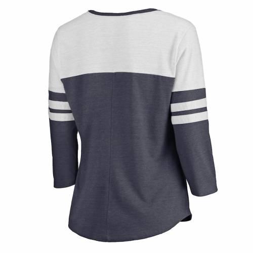 NFL PRO LINE BY FANATICS BRANDED ペイトリオッツ レディース チーム ブイネック Tシャツ レディースファッション トップス カットソー 【 New England Patriots Womens Distressed Team Striped Tri-blend 3/4-sleeve