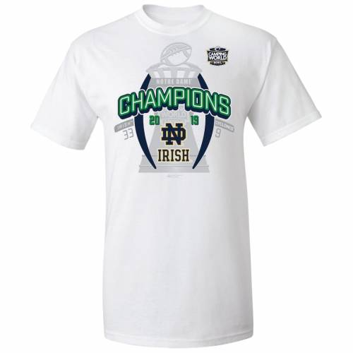ULTIMATE ATHLETIC SPORTSWEAR アルティメイト Tシャツ 白 ホワイト 【 ULTIMATE WHITE ATHLETIC SPORTSWEAR NOTRE DAME FIGHTING IRISH 2019 CAMPING WORLD BOWL CHAMPIONS TSHIRT 】 メンズファッション トップス Tシャツ カッ
