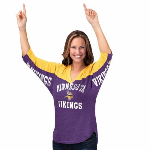 HANDS HIGH ミネソタ バイキングス レディース ゾーン ブイネック Tシャツ レディースファッション トップス カットソー 【 Minnesota Vikings Womens In The Zone 3/4-sleeve V-neck T-shirt - Purple/gold 】 Purp