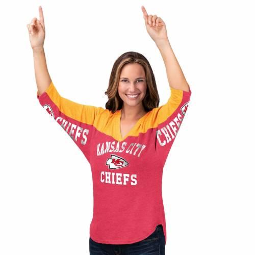 HANDS HIGH カンザス シティ チーフス レディース ゾーン ブイネック Tシャツ レディースファッション トップス カットソー 【 Kansas City Chiefs Womens In The Zone 3/4-sleeve V-neck T-shirt - Red/yellow 】