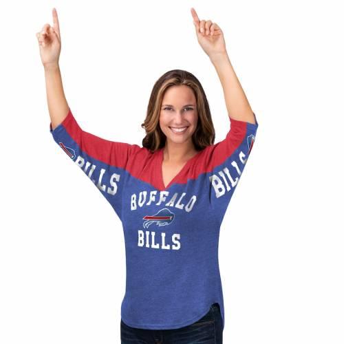 HANDS HIGH バッファロー ビルズ レディース ゾーン ブイネック Tシャツ レディースファッション トップス カットソー 【 Buffalo Bills Womens In The Zone 3/4-sleeve V-neck T-shirt - Royal/red 】 Royal/red