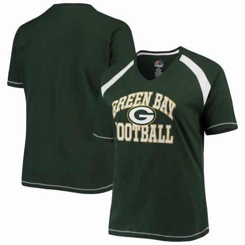 PROFILE 緑 グリーン パッカーズ マジェスティック レディース ブイネック ラグラン Tシャツ レディースファッション トップス カットソー 【 Green Bay Packers Majestic Womens Plus Size Pieced V-neck Ra