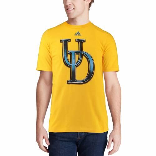 アディダス ADIDAS 青 ブルー ロゴ Tシャツ メンズファッション トップス カットソー メンズ 【 Delaware Fightin Blue Hens Chromed Logo T-shirt - Gold 】 Gold