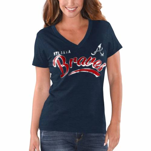 G-III 4HER BY CARL BANKS アトランタ ブレーブス レディース ブイネック Tシャツ 紺 ネイビー レディースファッション トップス カットソー 【 Atlanta Braves Womens Good Day V-neck T-shirt - Heathered Navy