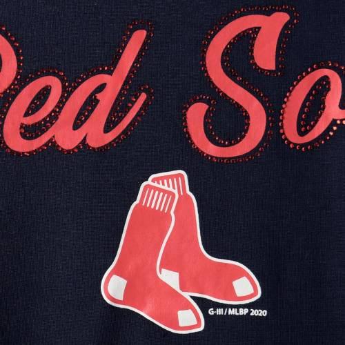 G-III 4HER BY CARL BANKS ボストン 赤 レッド レディース Tシャツ 紺 ネイビー レディースファッション トップス カットソー 【 Boston Red Sox Womens Extra Inning Cold Shoulder T-shirt - Navy 】 Navy