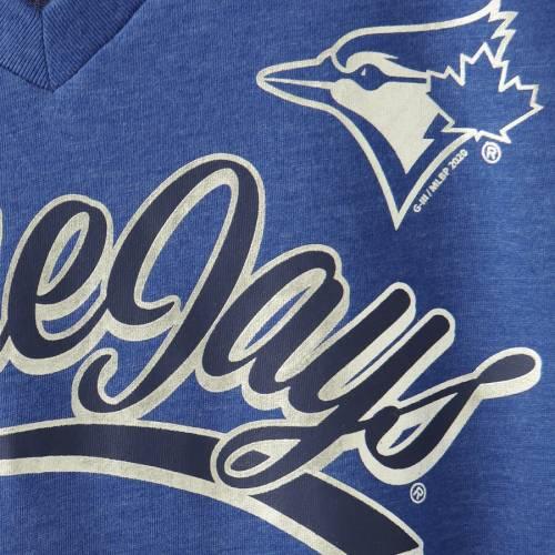G-III 4HER BY CARL BANKS トロント 青 ブルー レディース ブイネック Tシャツ レディースファッション トップス カットソー 【 Toronto Blue Jays Womens Good Day V-neck T-shirt - Heathered Royal 】 Heathered Royal