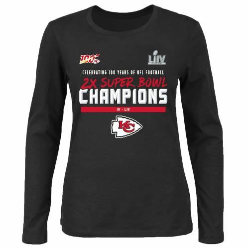 NFL PRO LINE BY FANATICS BRANDED カンザス シティ チーフス レディース スリーブ Tシャツ 黒 ブラック レディースファッション トップス カットソー 【 Kansas City Chiefs Womens 2-time Super Bowl Champions I