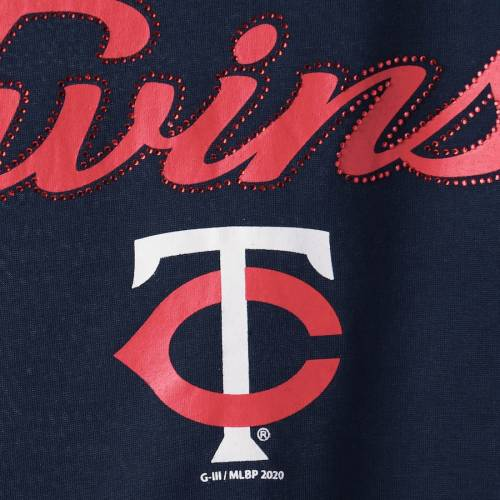 G-III 4HER BY CARL BANKS ミネソタ ツインズ レディース Tシャツ 紺 ネイビー レディースファッション トップス カットソー 【 Minnesota Twins Womens Extra Inning Cold Shoulder T-shirt - Navy 】 Navy