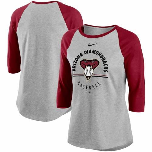 ナイキ NIKE アリゾナ ダイヤモンドバックス レディース ラグラン Tシャツ レディースファッション トップス カットソー 【 Arizona Diamondbacks Womens Encircled Tri-blend 3/4-sleeve Raglan T-shirt - Gray/r