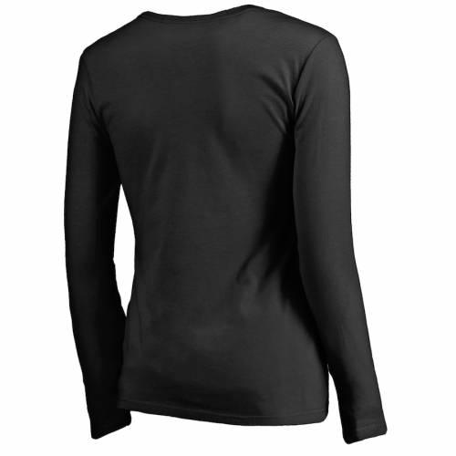 NFL PRO LINE BY FANATICS BRANDED アトランタ ファルコンズ レディース スリーブ ブイネック Tシャツ 黒 ブラック レディースファッション トップス カットソー 【 Atlanta Falcons Womens Wiggin Long Sleev