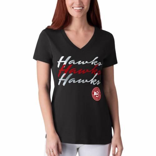 G-III 4HER BY CARL BANKS アトランタ ホークス レディース パワー Tシャツ 黒 ブラック レディースファッション トップス カットソー 【 Atlanta Hawks Womens Power Forward Foil T-shirt - Black 】 Black