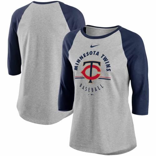 ナイキ NIKE ミネソタ ツインズ レディース ラグラン Tシャツ レディースファッション トップス カットソー 【 Minnesota Twins Womens Encircled Tri-blend 3/4-sleeve Raglan T-shirt - Gray/navy 】 Gray/navy