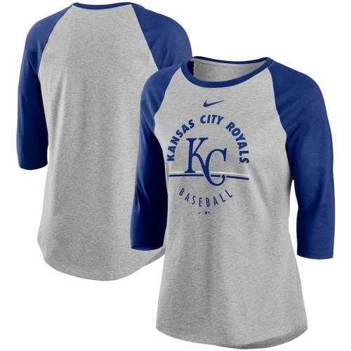 ナイキ NIKE カンザス シティ ロイヤルズ レディース ラグラン Tシャツ レディースファッション トップス カットソー 【 Kansas City Royals Womens Encircled Tri-blend 3/4-sleeve Raglan T-shirt - Gray/royal