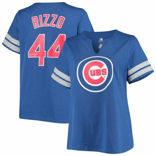 PROFILE アンソニー シカゴ カブス レディース Tシャツ レディースファッション トップス カットソー 【 Anthony Rizzo Chicago Cubs Womens Plus Size Notch Neck Name And Number T-shirt - Royal 】 Royal