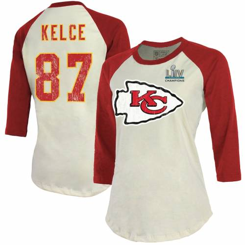 NFL PRO LINE BY FANATICS BRANDED カンザス シティ チーフス レディース ラグラン Tシャツ レディースファッション トップス カットソー 【 Travis Kelce Kansas City Chiefs Womens Super Bowl Liv Champions Name And