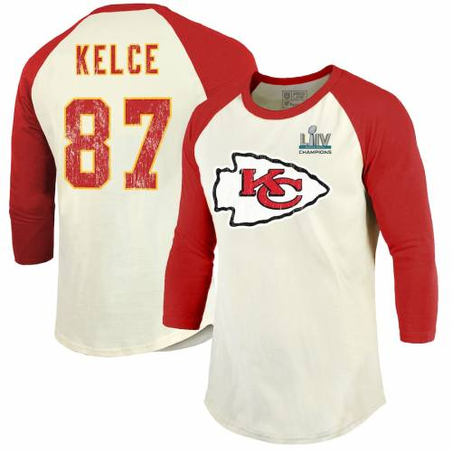NFL PRO LINE BY FANATICS BRANDED プロ カンザス シティ チーフス ラグラン Tシャツ クリーム 赤 レッド & 【 NFL RAGLAN RED PRO LINE BY FANATICS BRANDED TRAVIS KELCE KANSAS CITY CHIEFS SUPER BOWL LIV CHAMPIONS NAME NUMBE