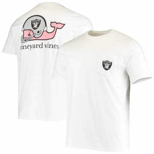 VINEYARD VINES レイダース ヘルメット Tシャツ 白 ホワイト メンズファッション トップス カットソー メンズ 【 Las Vegas Raiders Whale Helmet T-shirt - White 】 White