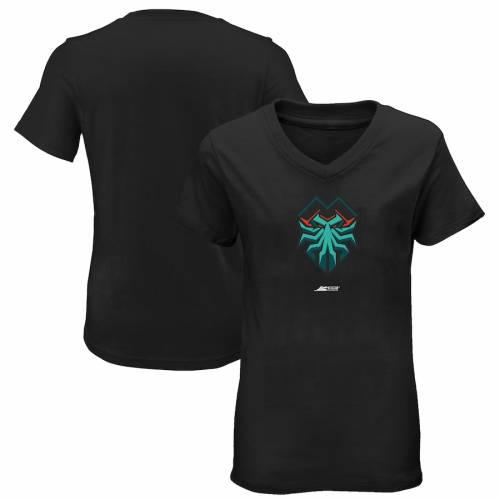 OUTERSTUFF フロリダ レディース ロゴ ブイネック Tシャツ 黒 ブラック レディースファッション トップス カットソー 【 Florida Mutineers Womens Primary Logo V-neck T-shirt - Black 】 Black