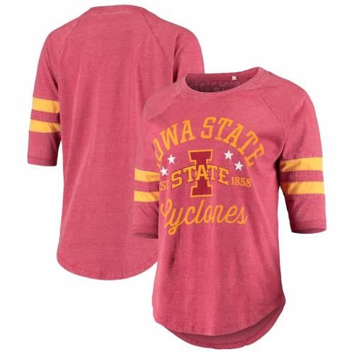 PRESSBOX スケートボード レディース 翡翠 ジェード ビンテージ ヴィンテージ ジャージ Tシャツ レディースファッション トップス カットソー 【 Iowa State Cyclones Womens Jade Vintage Washed 3/4-slee