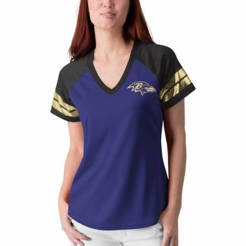 G-III 4HER BY CARL BANKS ボルティモア レイブンズ レディース フランチャイズ ラグラン Tシャツ 紫 パープル レディースファッション トップス カットソー 【 Baltimore Ravens Womens Franchise Raglan T