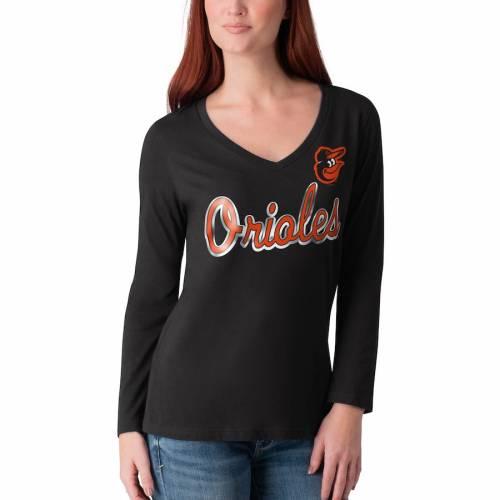 G-III 4HER BY CARL BANKS ボルティモア オリオールズ レディース ゲーム スリーブ ブイネック Tシャツ 黒 ブラック レディースファッション トップス カットソー 【 Baltimore Orioles Womens Perfect Ga