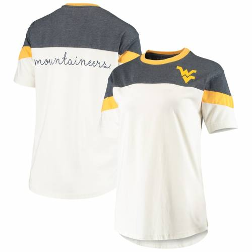 PRESSBOX バージニア レディース Tシャツ レディースファッション トップス カットソー 【 West Virginia Mountaineers Womens Blossom Colorblocked T-shirt - Navy/white 】 Navy/white