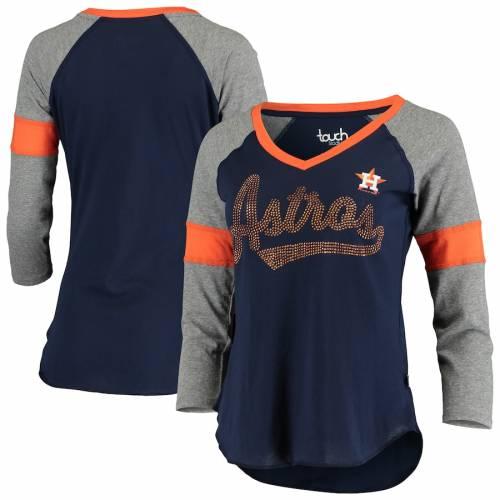 TOUCH ヒューストン アストロズ レディース ラグラン ブイネック Tシャツ レディースファッション トップス カットソー 【 Houston Astros Womens Fan For Life Raglan V-neck 3/4-sleeve T-shirt - Navy/gray 】