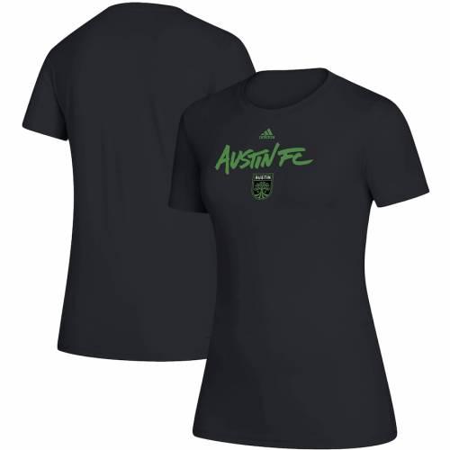 アディダス ADIDAS レディース Tシャツ 黒 ブラック レディースファッション トップス カットソー 【 Austin Fc Womens Wordmark Goals Climalite T-shirt - Black 】 Black