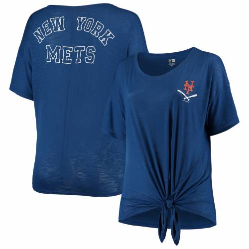 ニューエラ NEW ERA メッツ レディース Tシャツ レディースファッション トップス カットソー 【 New York Mets Womens Plus Size Tie T-shirt - Royal 】 Royal