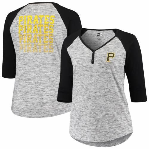 ニューエラ NEW ERA ピッツバーグ 海賊団 レディース ジャージ ラグラン スリーブ ヘンリー Tシャツ 黒 ブラック レディースファッション トップス カットソー 【 Pittsburgh Pirates Womens Plus S