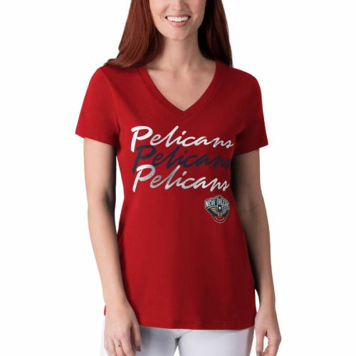 G-III 4HER BY CARL BANKS レディース パワー Tシャツ 赤 レッド レディースファッション トップス カットソー 【 New Orleans Pelicans Womens Power Forward Foil T-shirt - Red 】 Red