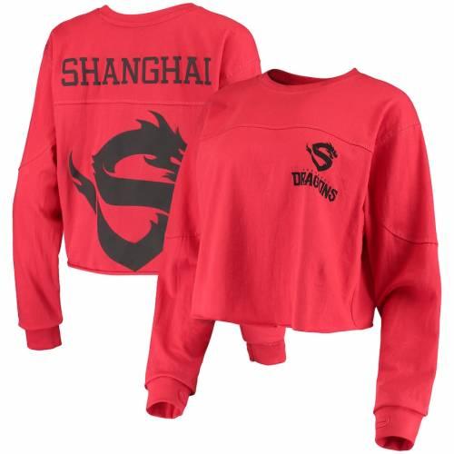 G-III 4HER BY CARL BANKS レディース スリーブ Tシャツ 赤 レッド レディースファッション トップス カットソー 【 Shanghai Dragons Womens Spirit Long Sleeve T-shirt - Red 】 Red